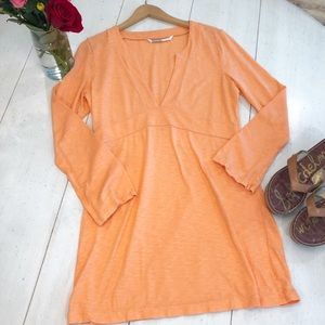 ATHLETA bright orange long sleeve cotton dress